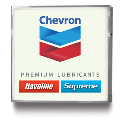 Chevron Lubricants Illuminated Single Face Wall Mount Sign - 4' x 4'