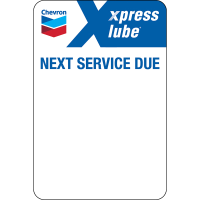 Chevron xpress lube Static Clings (5 rolls of 500 = 2500 clings) Zebra Printer ONLY