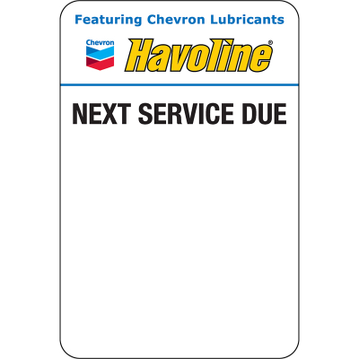 Havoline Static Clings (5 rolls of 500 = 2,500 clings) Zebra Printer ONLY