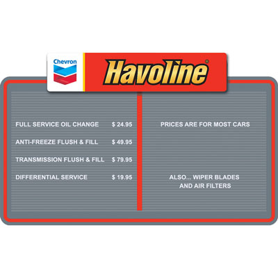 "Havoline Menu Board - 42"" x 25"""