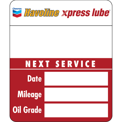 Havoline xpress lube Service Reminder Static Clings - Handwritten