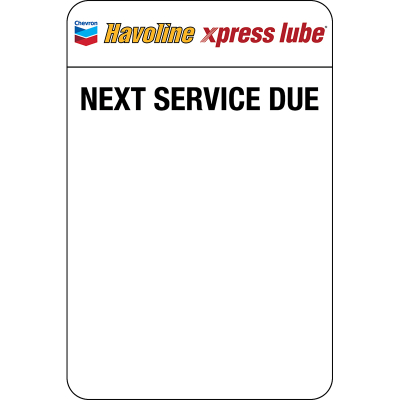 Havoline xpress lube Static Clings (5 rolls of 500 = 2,500 clings) Zebra Printer ONLY