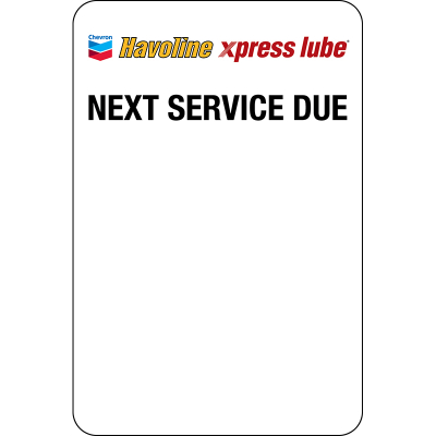 Havoline xpress lube Static Clings (5 rolls of 500 = 2500) TSC Printer ONLY