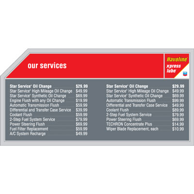 Havoline xpress lube Double Menu Board