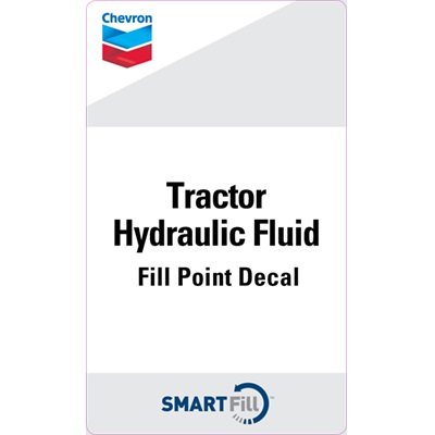 "Chevron Tractor Hydraulic Fluid Decal - 3"" x 5"""